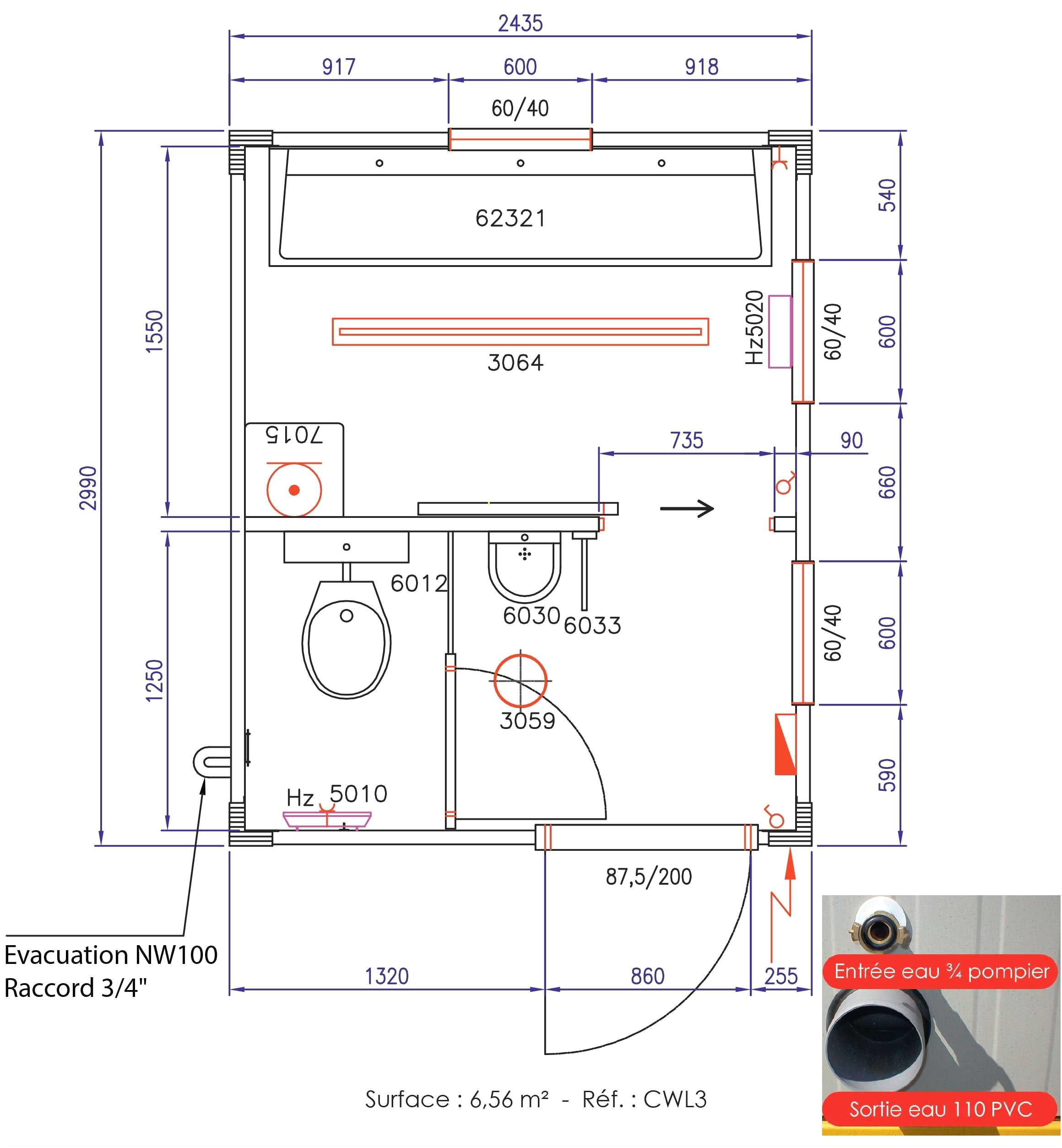 Dimension toilette pmr